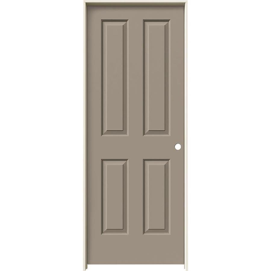JELD-WEN Sand Piper 4 Panel Square Single Prehung Interior Door (Common: 32-in x 80-in; Actual: 33.562-in x 81.688-in)