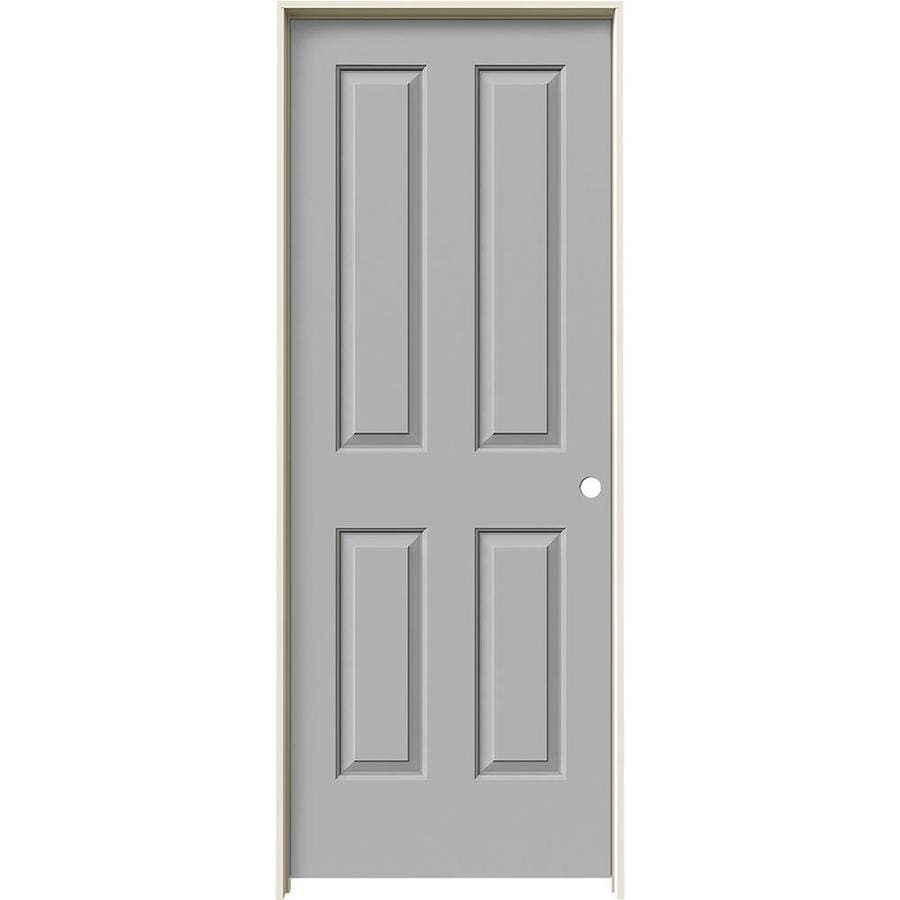 JELD-WEN Driftwood 4 Panel Square Single Prehung Interior Door (Common: 28-in x 80-in; Actual: 29.562-in x 81.688-in)