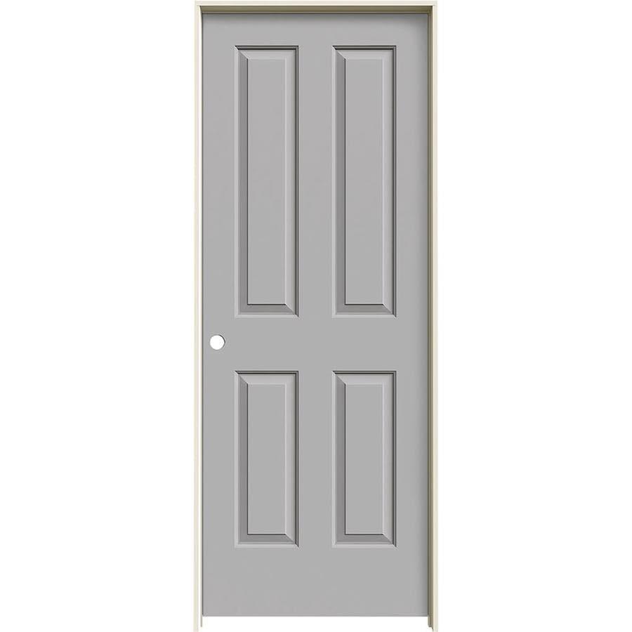 JELD-WEN Driftwood 4 Panel Square Single Prehung Interior Door (Common: 32-in x 80-in; Actual: 33.562-in x 81.688-in)