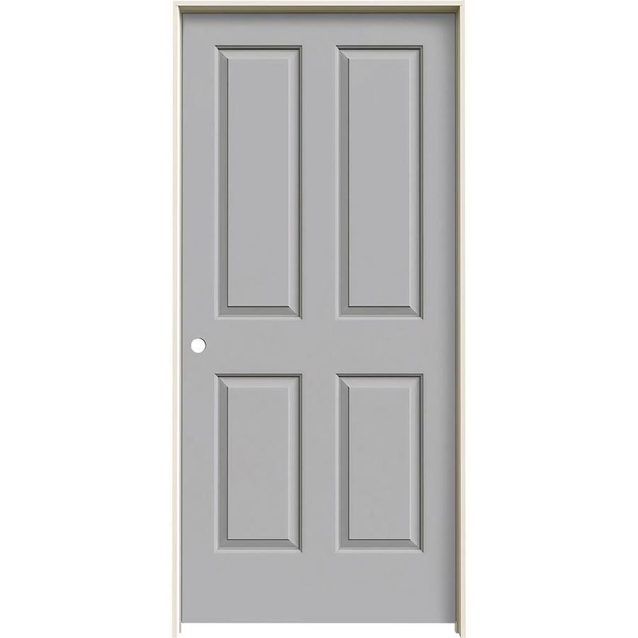 JELD-WEN Driftwood 4 Panel Square Single Prehung Interior Door (Common: 36-in x 80-in; Actual: 37.562-in x 81.688-in)