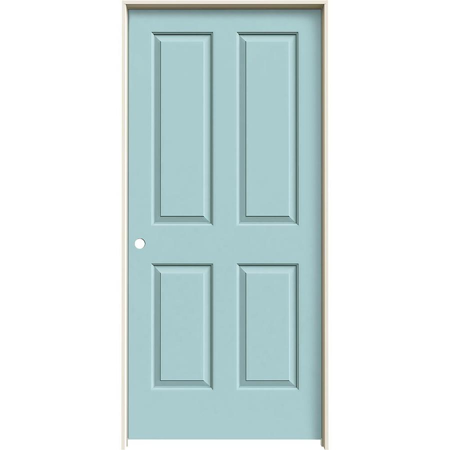 JELD-WEN Sea Mist Prehung Solid Core 4 Panel Interior Door (Common: 36-in x 80-in; Actual: 37.562-in x 81.688-in)
