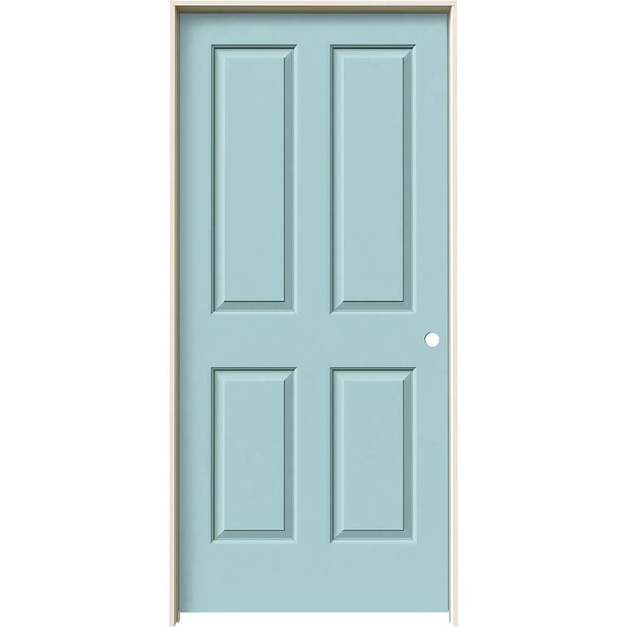 JELD-WEN Sea Mist 4 Panel Square Single Prehung Interior Door (Common: 36-in x 80-in; Actual: 37.562-in x 81.688-in)