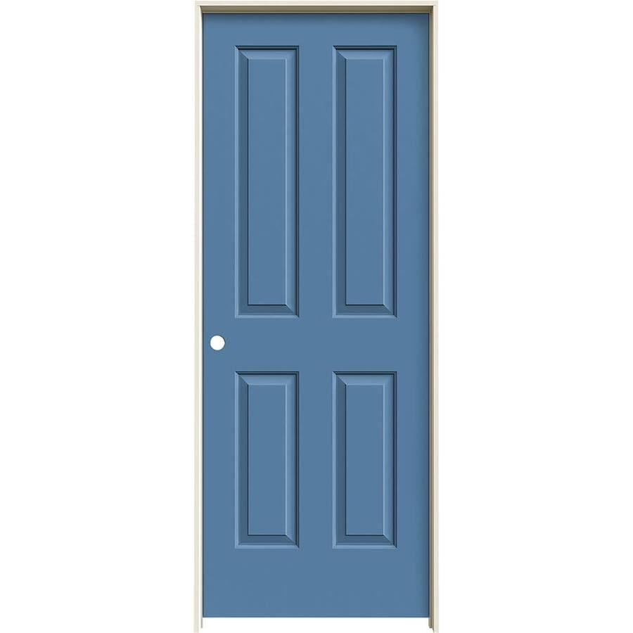 JELD-WEN Blue Heron Prehung Solid Core 4 Panel Square Interior Door (Common: 24-in x 80-in; Actual: 25.562-in x 81.688-in)