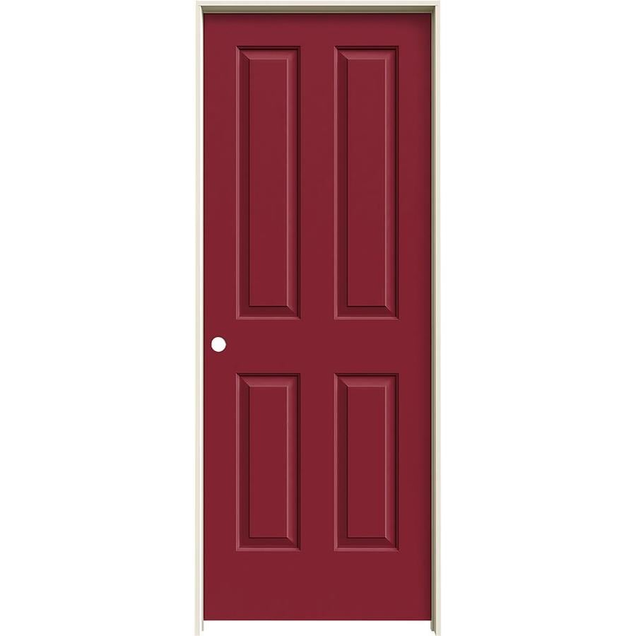 JELD-WEN Barn Red 4 Panel Square Single Prehung Interior Door (Common: 28-in x 80-in; Actual: 29.562-in x 81.688-in)