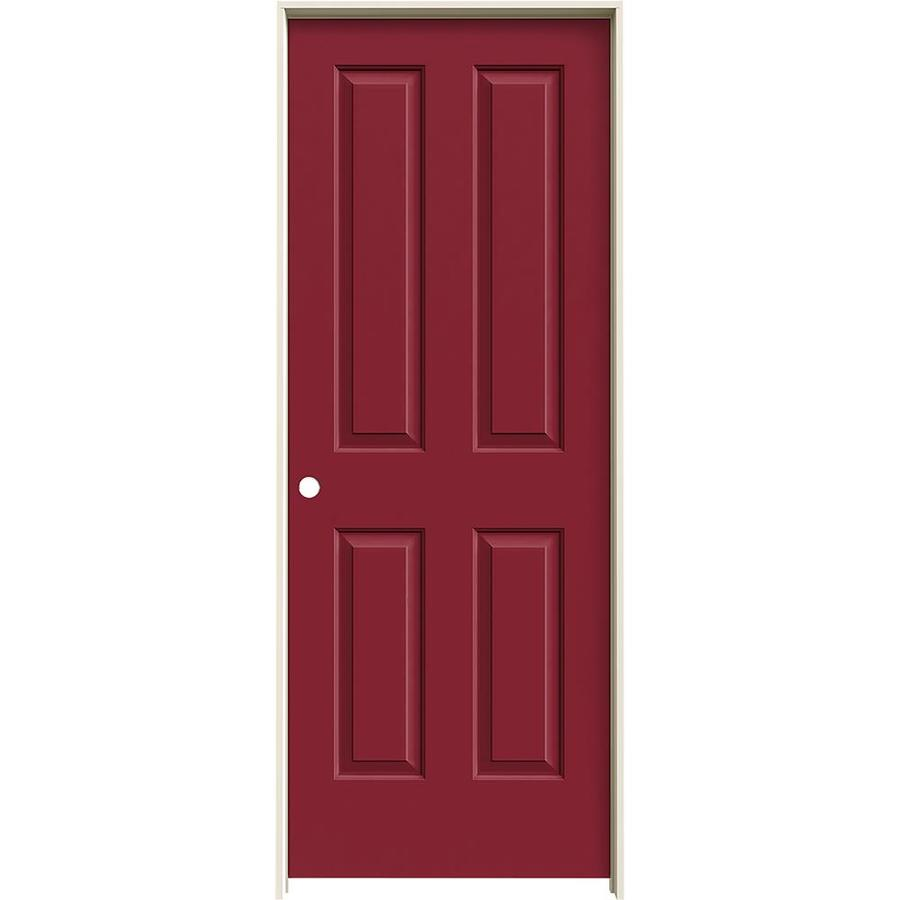 JELD-WEN Barn Red Prehung Solid Core 4 Panel Square Interior Door (Common: 30-in x 80-in; Actual: 31.562-in x 81.688-in)