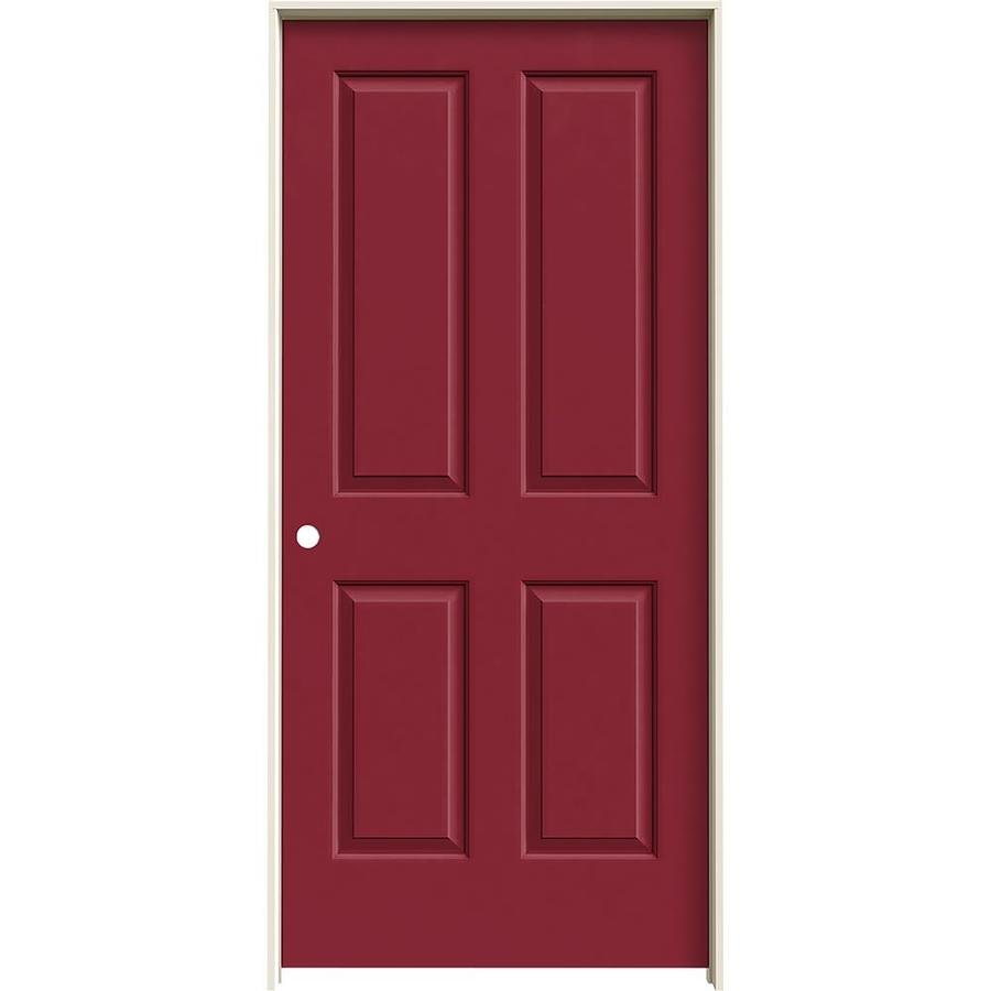 JELD-WEN Barn Red Prehung Solid Core 4 Panel Square Interior Door (Common: 36-in x 80-in; Actual: 37.562-in x 81.688-in)