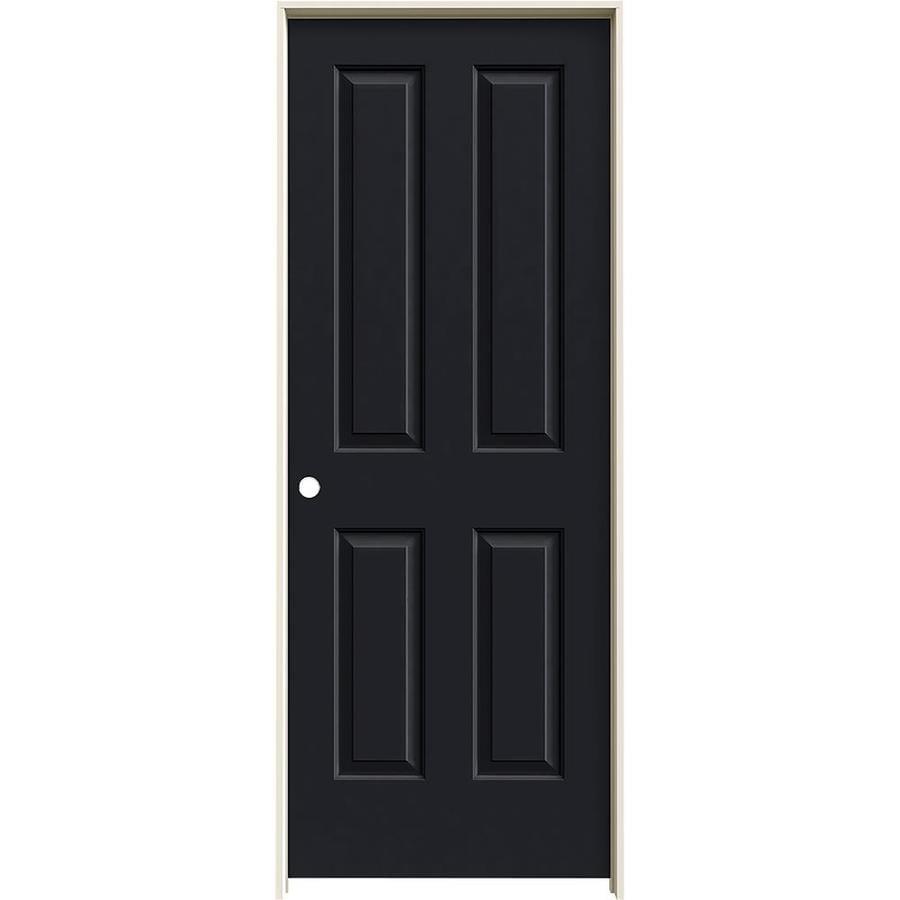 JELD-WEN Midnight Prehung Solid Core 4 Panel Square Interior Door (Common: 28-in x 80-in; Actual: 29.562-in x 81.688-in)