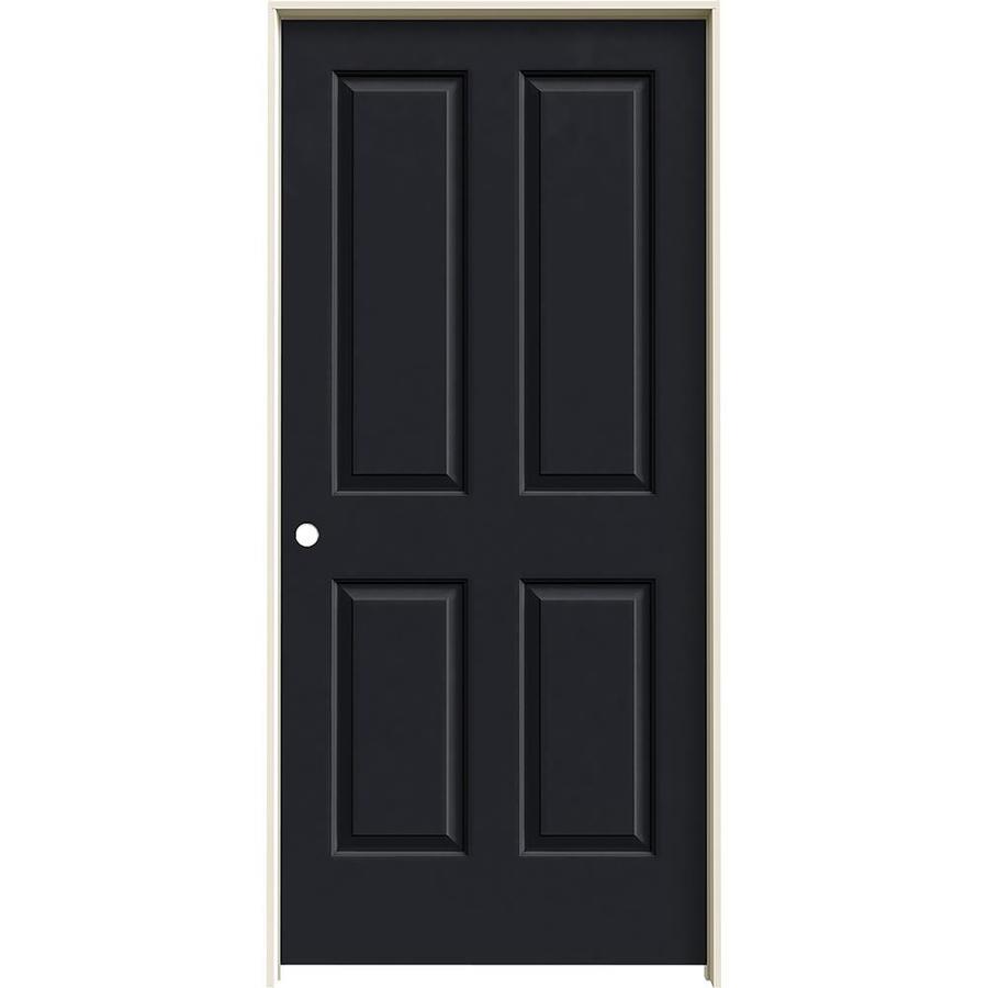 JELD-WEN Midnight Prehung Solid Core 4 Panel Square Interior Door (Common: 36-in x 80-in; Actual: 37.562-in x 81.688-in)