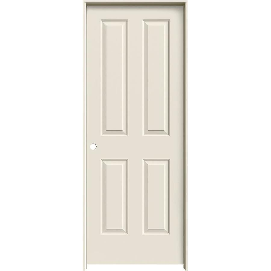 JELD-WEN (Primed) Prehung Solid Core 4 Panel Square Interior Door (Common: 32-in x 80-in; Actual: 33.562-in x 81.688-in)