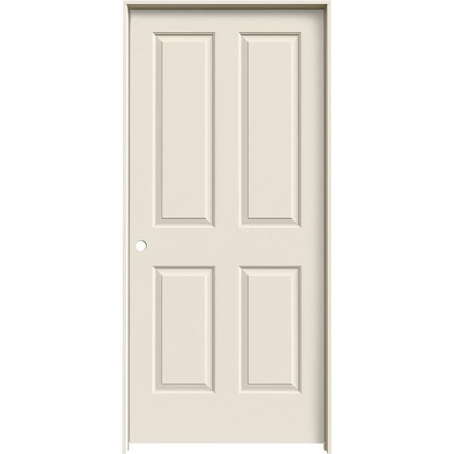 JELD-WEN (Primed) Prehung Solid Core 4 Panel Square Interior Door (Common: 36-in x 80-in; Actual: 37.562-in x 81.688-in)