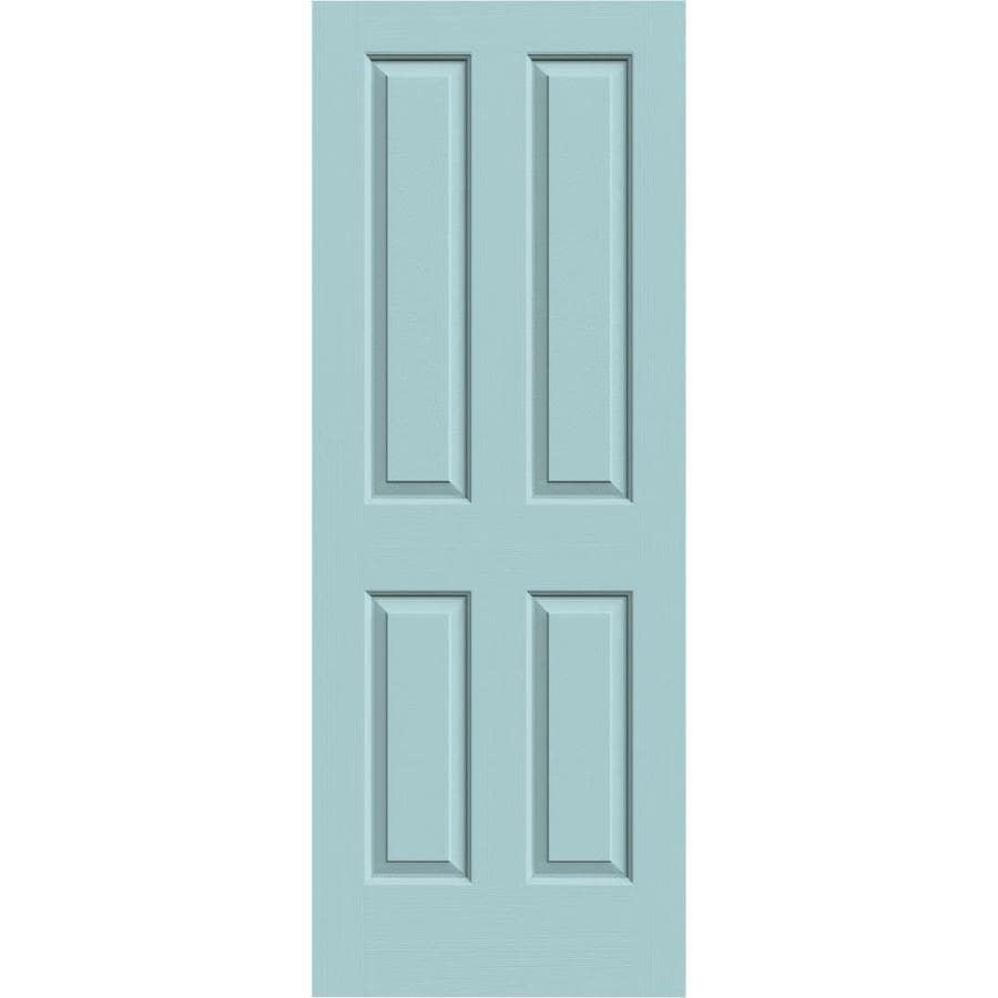 JELD-WEN Sea Mist Solid Core 4 Panel Square Slab Interior Door (Common: 28-in x 80-in; Actual: 28-in x 80-in)