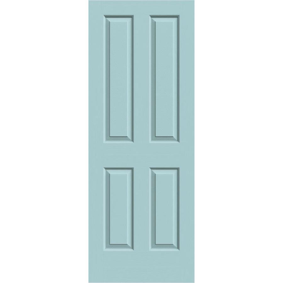JELD-WEN Sea Mist Solid Core 4 Panel Square Slab Interior Door (Common: 32-in x 80-in; Actual: 32-in x 80-in)