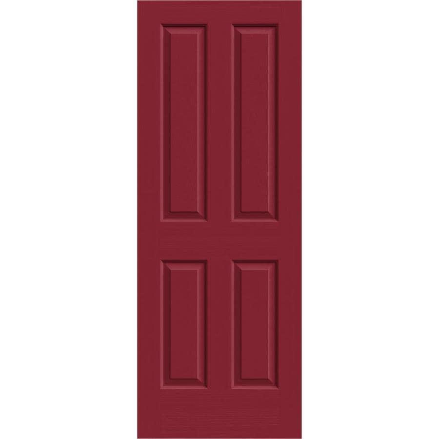 JELD-WEN Barn Red Solid Core 4 Panel Square Slab Interior Door (Common: 32-in x 80-in; Actual: 32-in x 80-in)