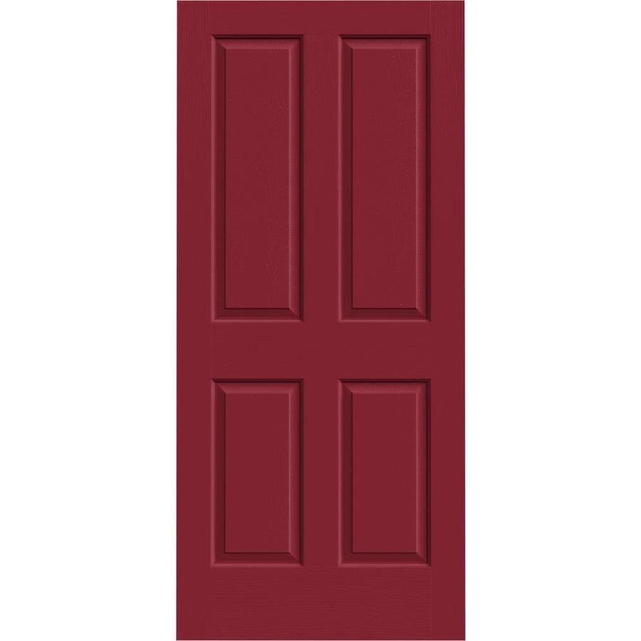 JELD-WEN Barn Red Solid Core 4 Panel Square Slab Interior Door (Common: 36-in x 80-in; Actual: 36-in x 80-in)