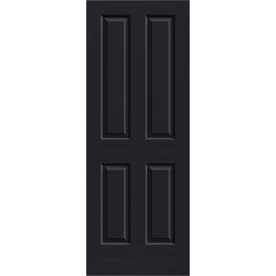 JELD-WEN Midnight Solid Core 4 Panel Square Slab Interior Door (Common: 32-in x 80-in; Actual: 32-in x 80-in)