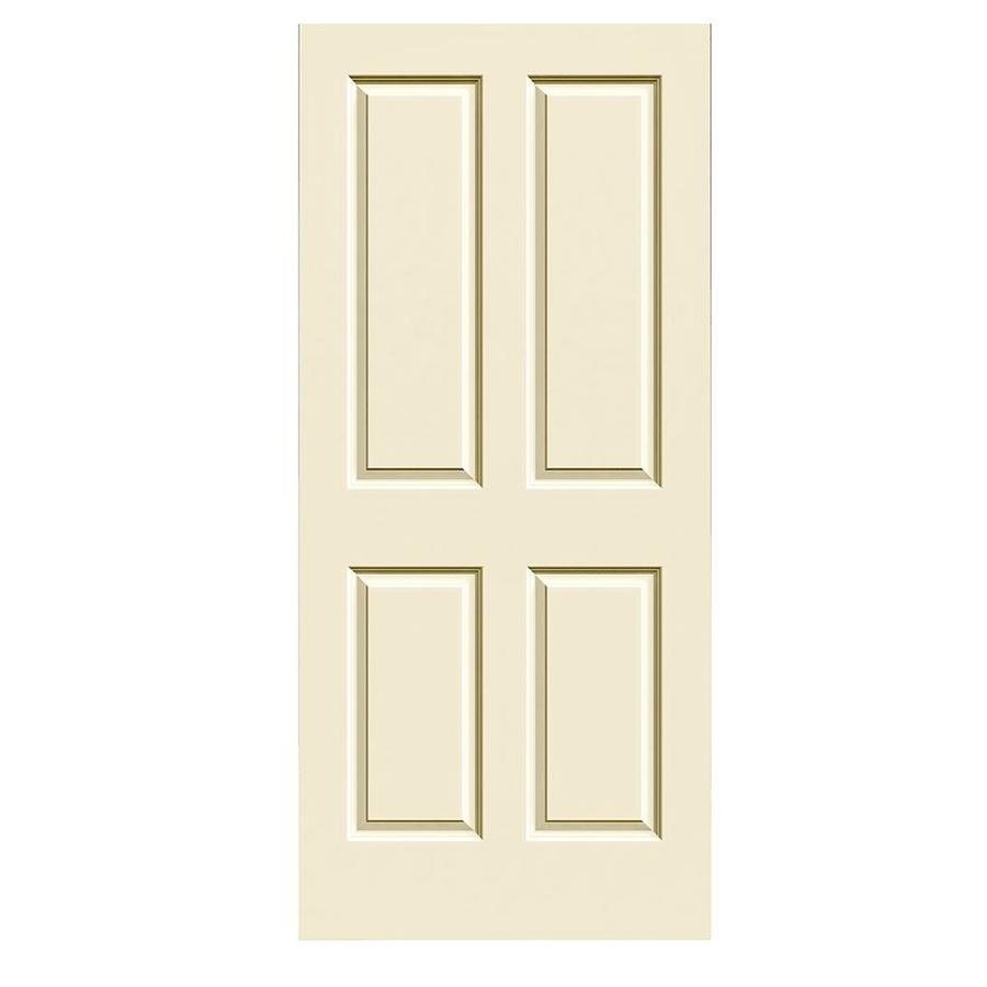 JELD-WEN Cream-N-Sugar Hollow Core 4 Panel Square Slab Interior Door (Common: 36-in x 80-in; Actual: 36-in x 80-in)