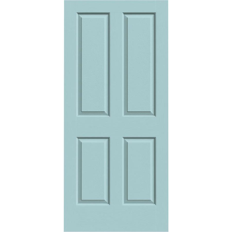 JELD-WEN Sea Mist Hollow Core 4 Panel Square Slab Interior Door (Common: 36-in x 80-in; Actual: 36-in x 80-in)