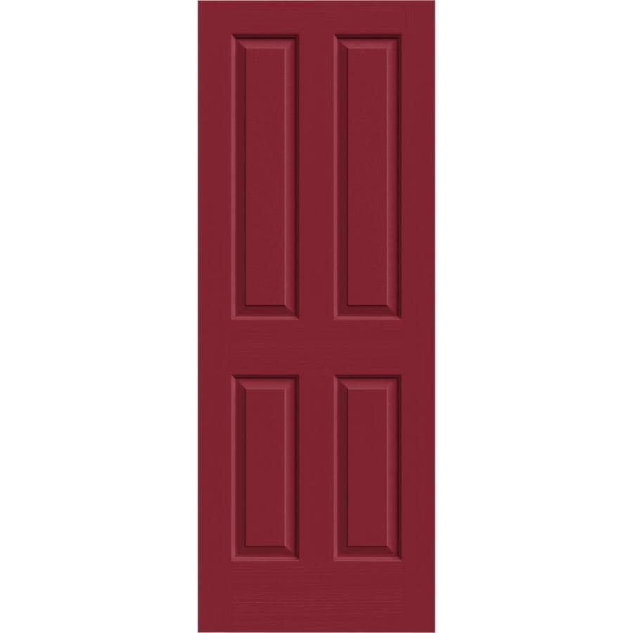 JELD-WEN Barn Red Hollow Core 4 Panel Square Slab Interior Door (Common: 28-in x 80-in; Actual: 28-in x 80-in)