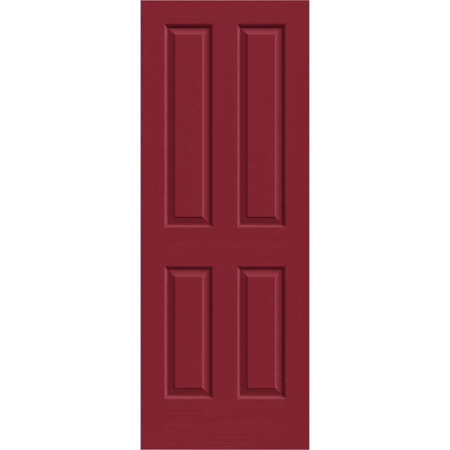 JELD-WEN Coventry Barn Red 4 Panel Square Slab Interior Door (Common: 32-in x 80-in; Actual: 32-in x 80-in)
