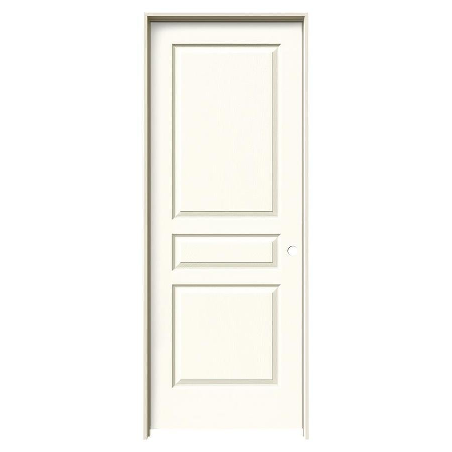 JELD-WEN White Prehung Solid Core 3-Panel Square Interior Door (Common: 32-in x 80-in; Actual: 33.562-in x 81.688-in)