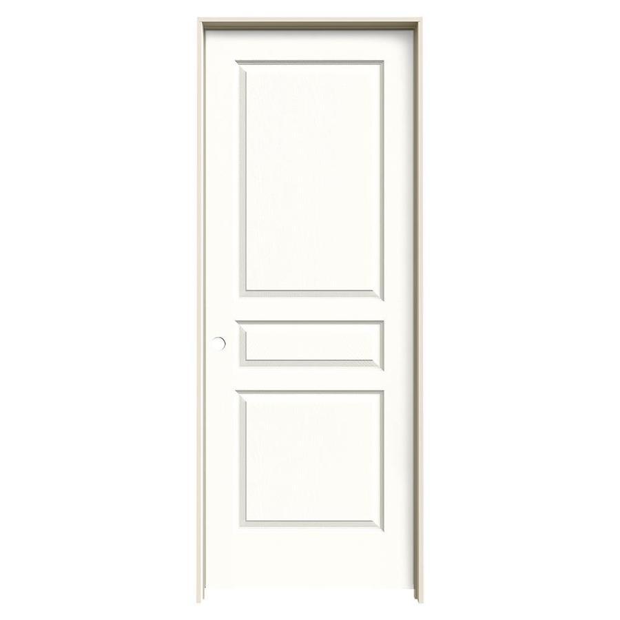 JELD-WEN Avalon Snow Storm 3-panel Square Single Prehung Interior Door (Common: 32-in x 80-in; Actual: 33.562-in x 81.688-in)