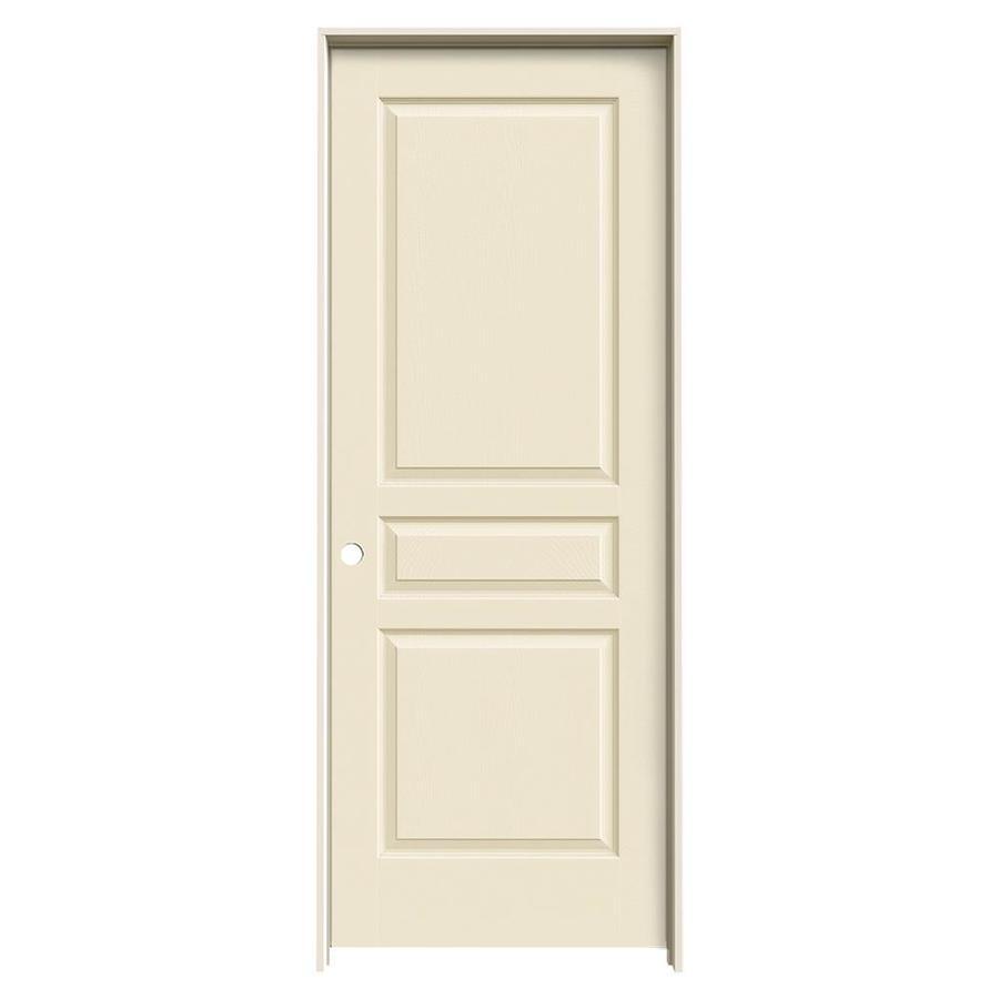 JELD-WEN Avalon Cream-n-sugar 3-panel Square Single Prehung Interior Door (Common: 24-in x 80-in; Actual: 25.562-in x 81.688-in)