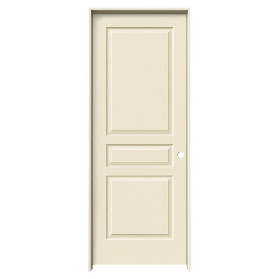 JELD-WEN Avalon Cream-n-sugar 3-panel Square Single Prehung Interior Door (Common: 30-in x 80-in; Actual: 31.562-in x 81.688-in)