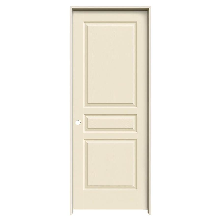 JELD-WEN Cream-N-Sugar Prehung Solid Core 3-Panel Square Interior Door (Common: 32-in x 80-in; Actual: 33.562-in x 81.688-in)