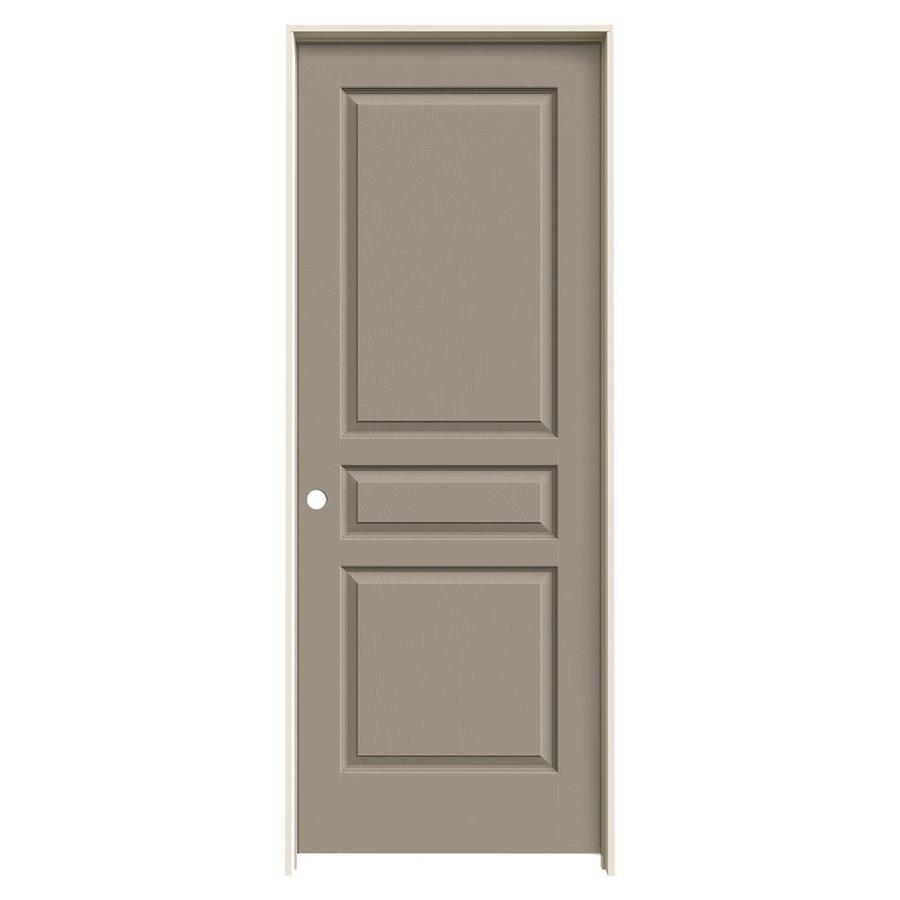 JELD-WEN Avalon Sand Piper 3-panel Square Single Prehung Interior Door (Common: 28-in x 80-in; Actual: 29.562-in x 81.688-in)