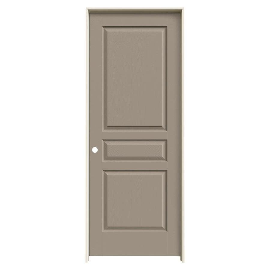 JELD-WEN Avalon Sand Piper 3-panel Square Single Prehung Interior Door (Common: 30-in x 80-in; Actual: 31.562-in x 81.688-in)