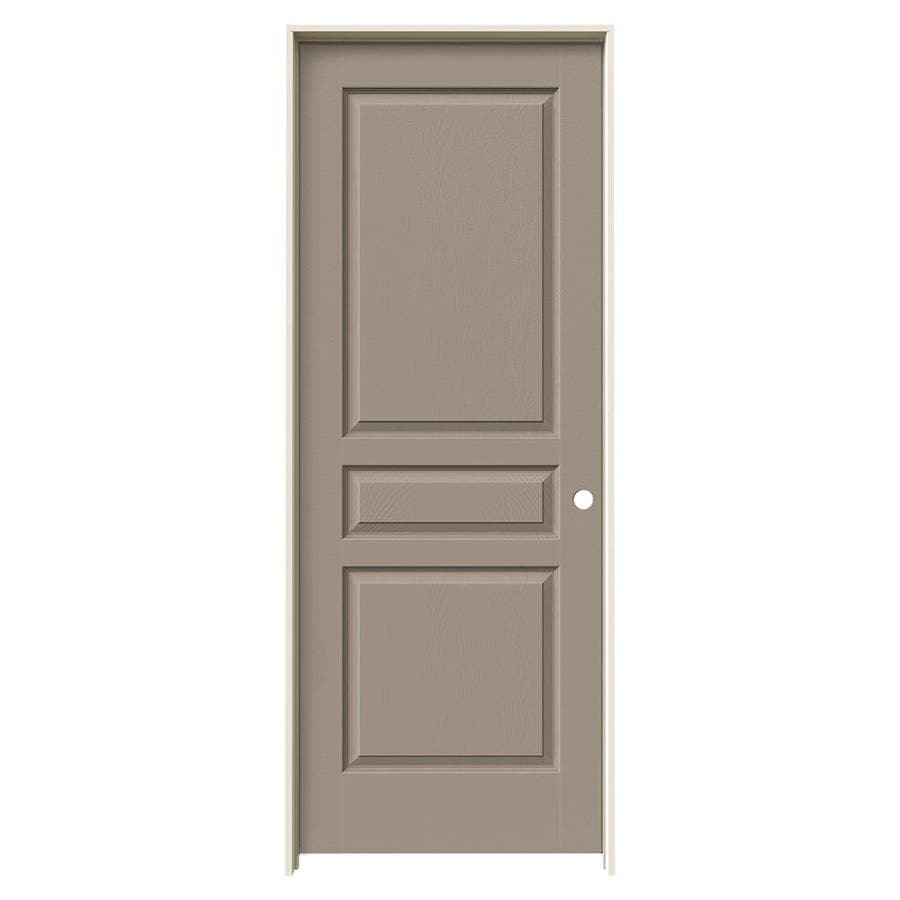 JELD-WEN Avalon Sand Piper 3-panel Square Single Prehung Interior Door (Common: 32-in x 80-in; Actual: 33.562-in x 81.688-in)
