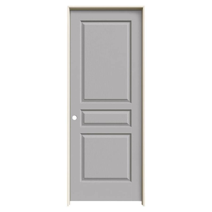 JELD-WEN Avalon Driftwood 3-panel Square Single Prehung Interior Door (Common: 30-in x 80-in; Actual: 31.562-in x 81.688-in)
