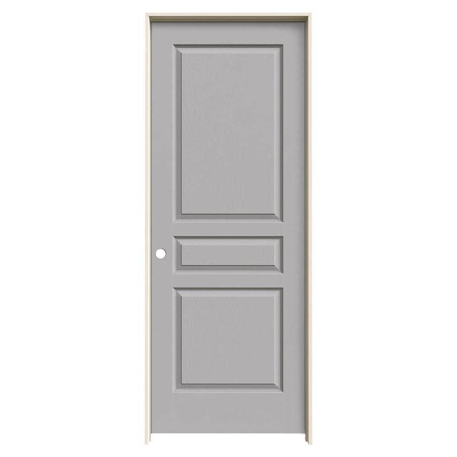 JELD-WEN Driftwood Prehung Solid Core 3-Panel Square Interior Door (Common: 30-in x 80-in; Actual: 31.562-in x 81.688-in)