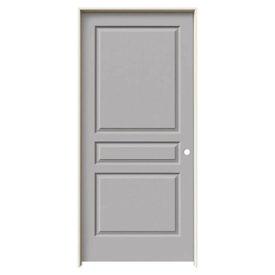 JELD-WEN Driftwood 3-panel Square Single Prehung Interior Door (Common: 36-in x 80-in; Actual: 37.562-in x 81.688-in)