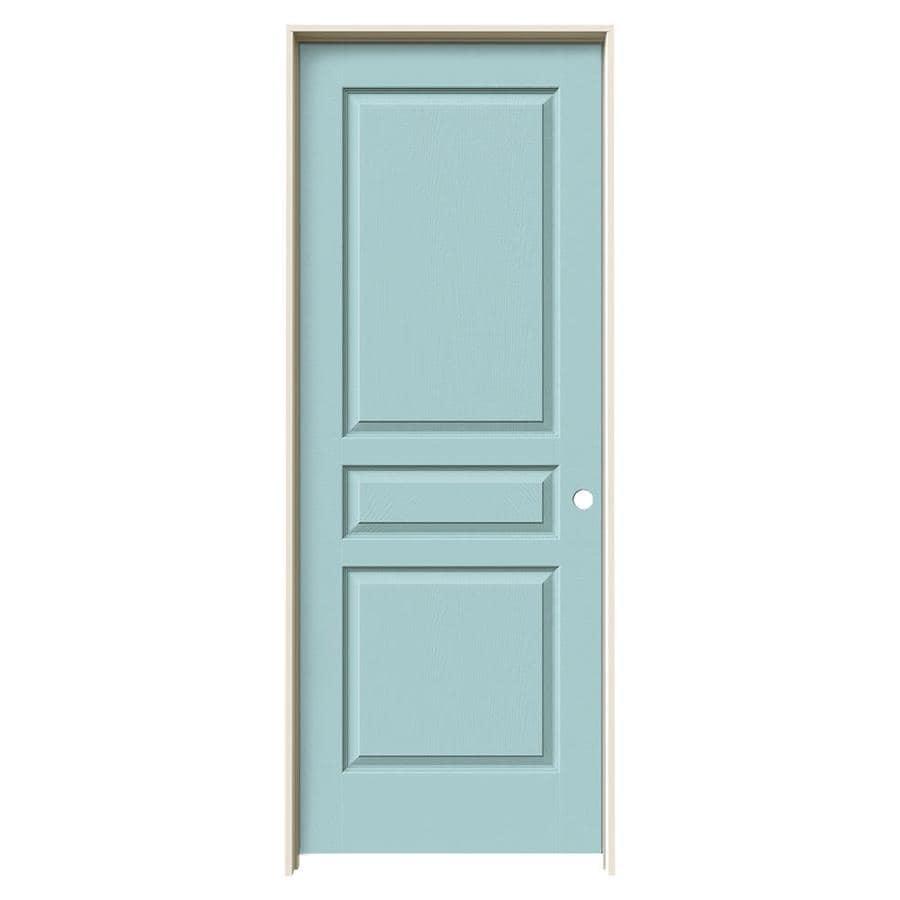 JELD-WEN Sea Mist Prehung Solid Core 3-Panel Square Interior Door (Common: 28-in x 80-in; Actual: 29.562-in x 81.688-in)