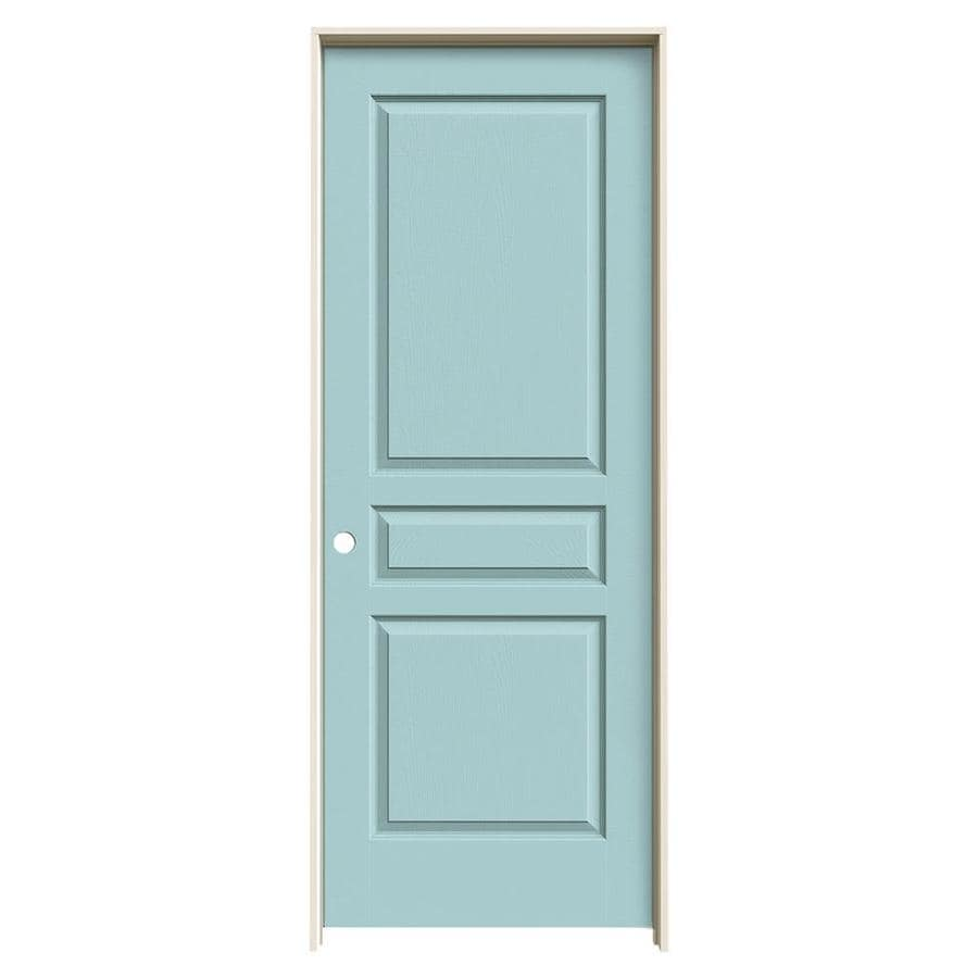 JELD-WEN Sea Mist Prehung Solid Core 3-Panel Square Interior Door (Common: 32-in x 80-in; Actual: 33.562-in x 81.688-in)