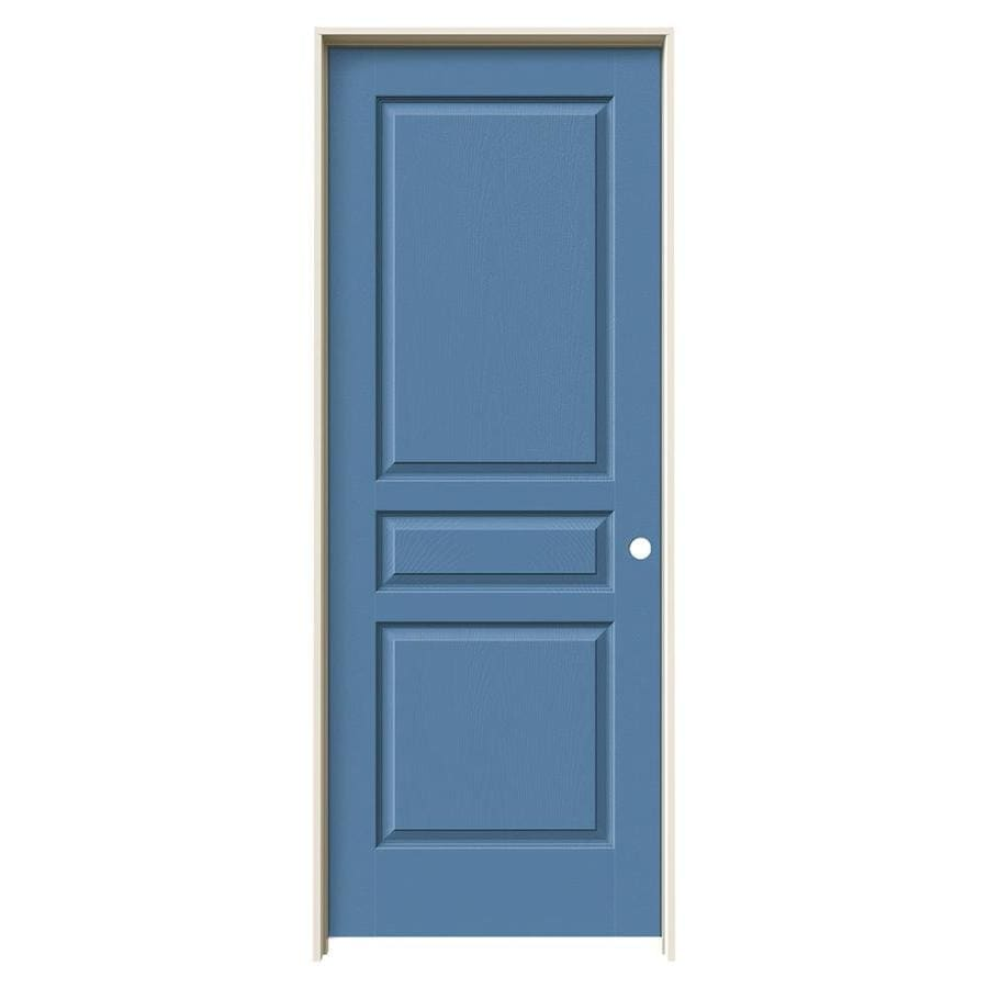 JELD-WEN Avalon Blue Heron Solid Core Molded Composite Single Prehung Interior Door (Common: 30-in x 80-in; Actual: 31.5620-in x 81.6880-in)