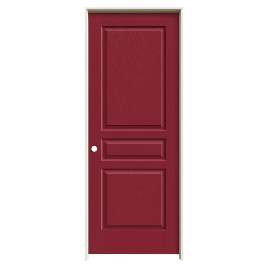 JELD-WEN Avalon Barn Red 3-panel Square Single Prehung Interior Door (Common: 28-in x 80-in; Actual: 29.562-in x 81.688-in)
