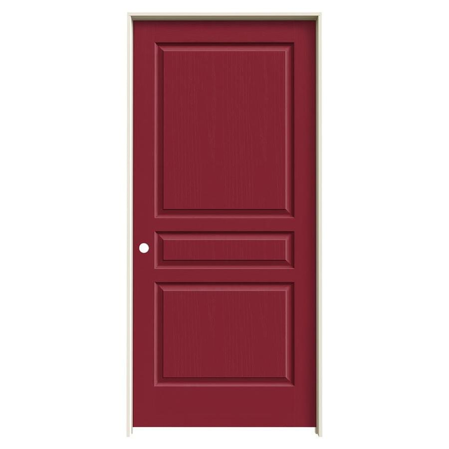 JELD-WEN Avalon Barn Red 3-panel Square Single Prehung Interior Door (Common: 36-in x 80-in; Actual: 37.562-in x 81.688-in)