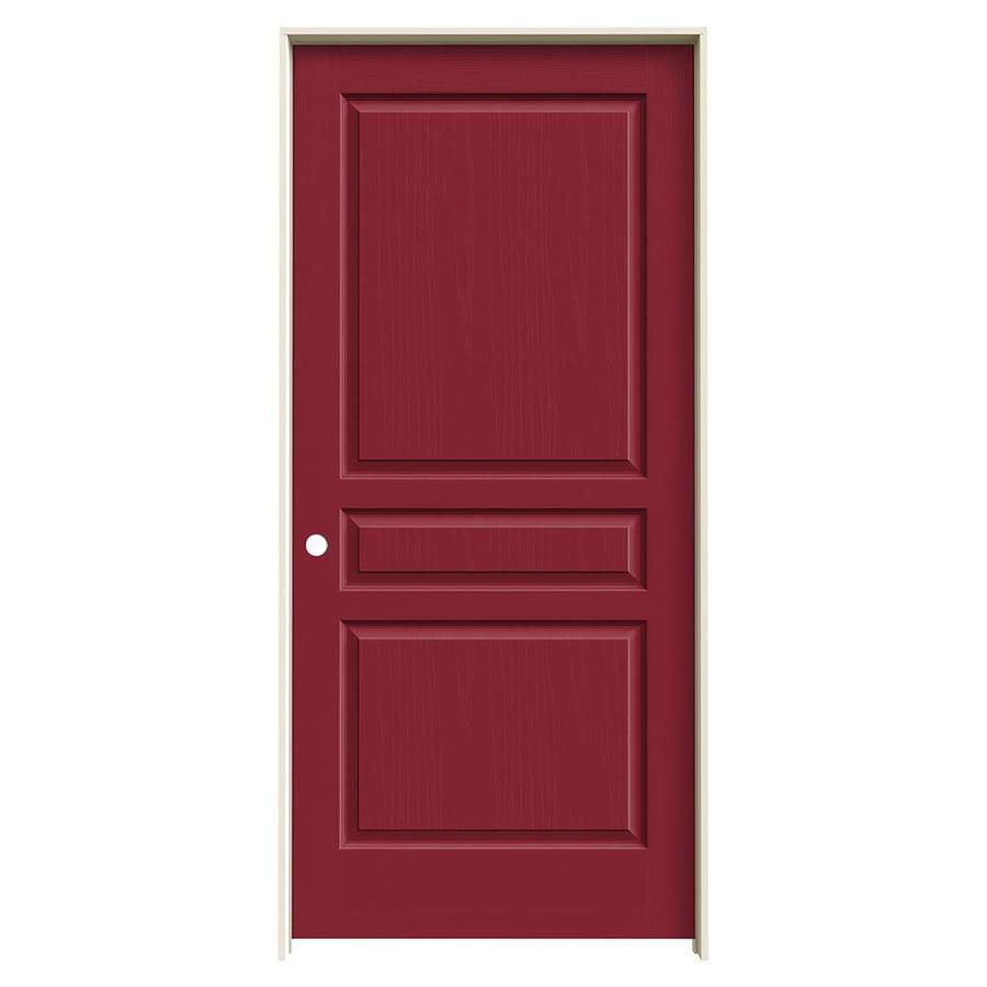 JELD-WEN Barn Red Prehung Solid Core 3-Panel Square Interior Door (Common: 36-in x 80-in; Actual: 37.562-in x 81.688-in)
