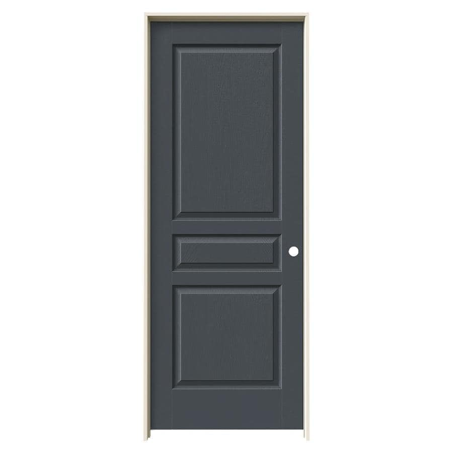 JELD-WEN Slate Prehung Solid Core 3-Panel Square Interior Door (Common: 32-in x 80-in; Actual: 33.562-in x 81.688-in)