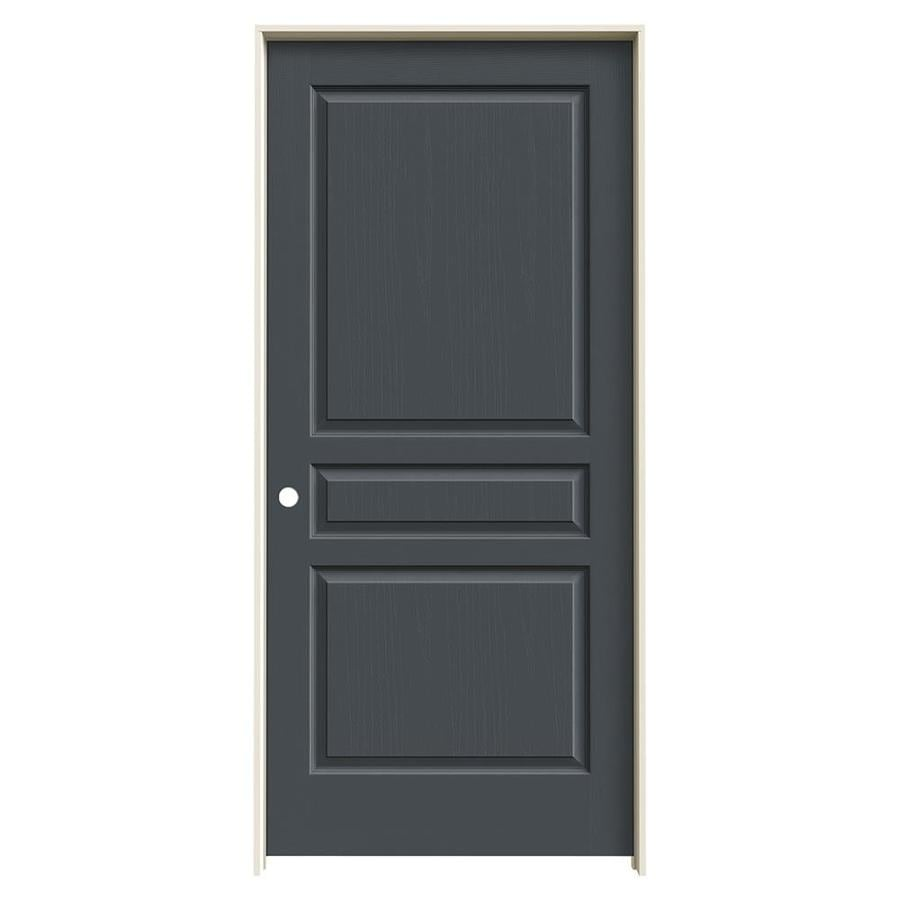 JELD-WEN Slate Prehung Solid Core 3-Panel Square Interior Door (Common: 36-in x 80-in; Actual: 37.562-in x 81.688-in)