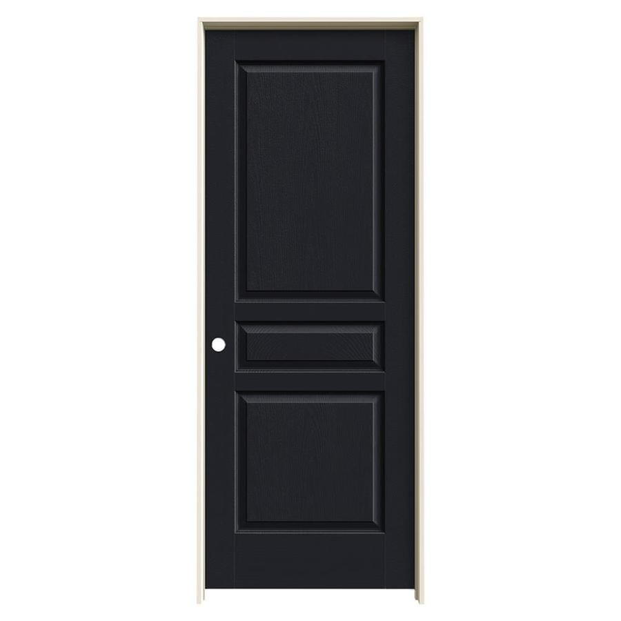 JELD-WEN Midnight Prehung Solid Core 3-Panel Square Interior Door (Common: 24-in x 80-in; Actual: 25.562-in x 81.688-in)