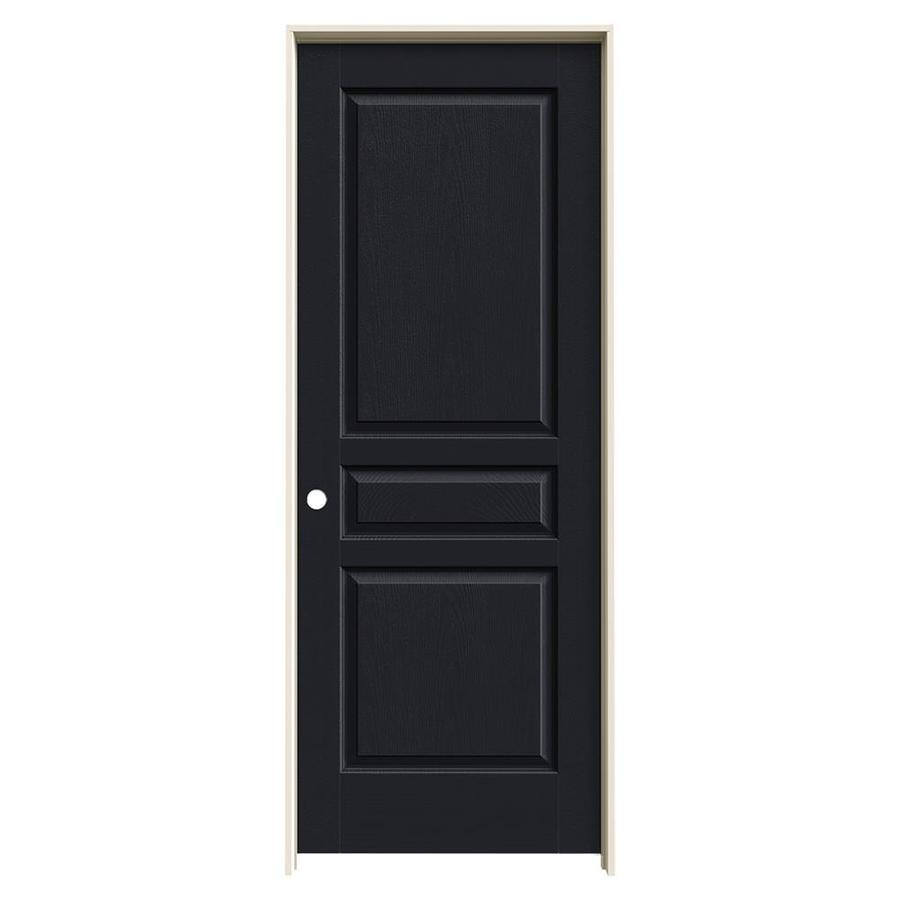 JELD-WEN Midnight Prehung Solid Core 3-Panel Square Interior Door (Common: 28-in x 80-in; Actual: 29.562-in x 81.688-in)