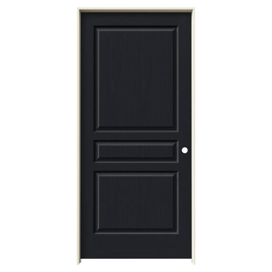 JELD-WEN Midnight Prehung Solid Core 3-Panel Square Interior Door (Common: 36-in x 80-in; Actual: 37.562-in x 81.688-in)