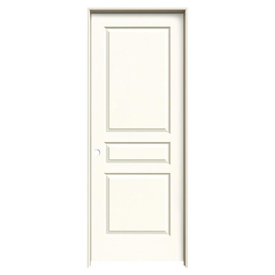 JELD-WEN Avalon White 3-panel Square Single Prehung Interior Door (Common: 28-in x 80-in; Actual: 29.562-in x 81.688-in)
