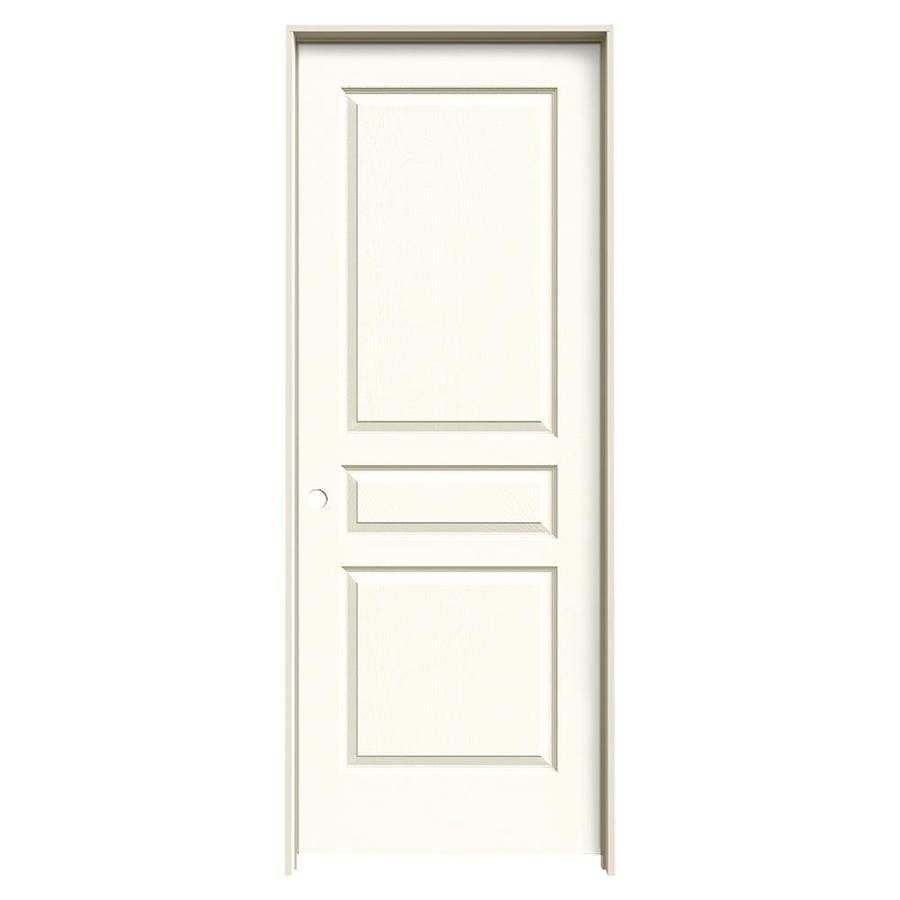JELD-WEN Avalon White 3-panel Square Single Prehung Interior Door (Common: 32-in x 80-in; Actual: 33.562-in x 81.688-in)