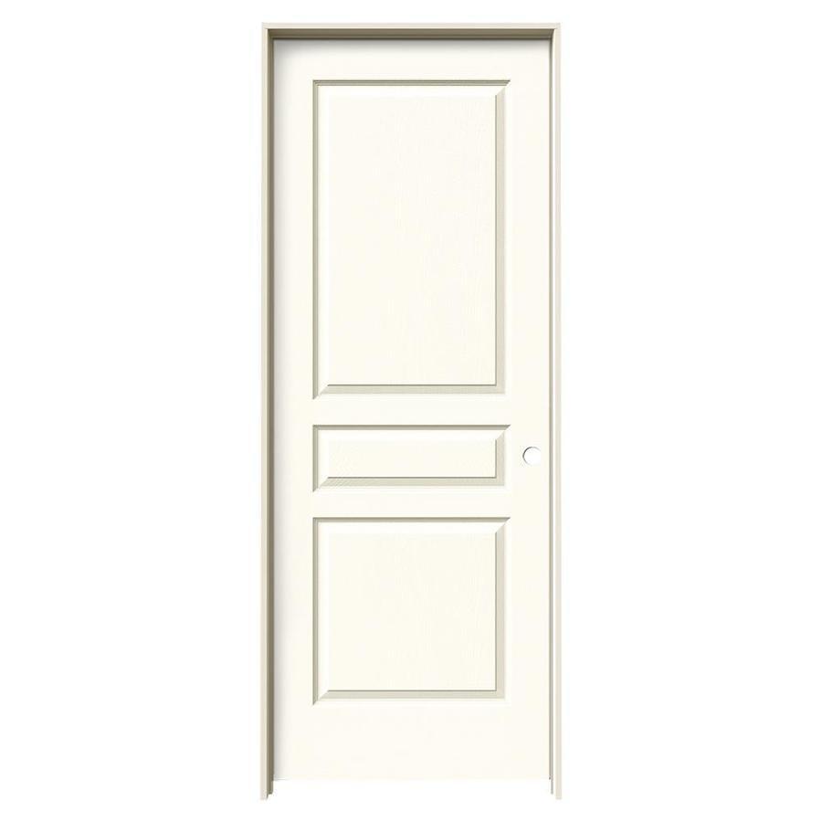 JELD-WEN Avalon White 3-panel Square Single Prehung Interior Door (Common: 32-in x 80-in; Actual: 33.562-in x 81.688-in)