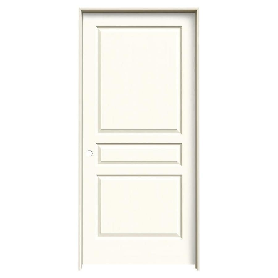 Shop jeld wen avalon white 3 panel square hollow core molded composite single prehung door for Lowes interior doors prehung