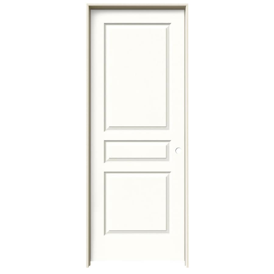 JELD-WEN Avalon Snow Storm 3-panel Square Single Prehung Interior Door (Common: 32-in x 80-in; Actual: 33.562-in x 81.688-in)